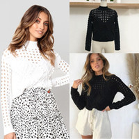 Solid Black White Autumn Winter Women Fashion Sweaters Long ...