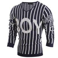 클래식 남성 스트라이프 스웨터 패턴 편지 V 넥 캐주얼 남성 점퍼 스웨터 남성 스웨터 디자이너 남성 니트 스웨터 블랙 M-2XL