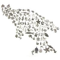 100 adet DIY Charm El Yapımı El Sanatları Gümüş Mini Okyanus Yunus Kabuk Kolye Toplu Çok Karışık Charms Antik Takı Yapımı