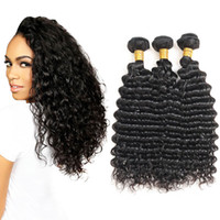 Cheap Deep Wave Bundles 3 Pcs Lot Indian Raw Hair Unprocesse...