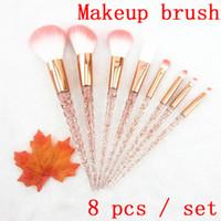 Maquillage Brosse 8 pcs / set Cristal Spirale Poignée Maquillage Brosse Arc-En-Diamant Poignée Maquillage Outil DHL Livraison Gratuite