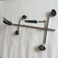Dispositivi di schiavitù per cani Dispositivi di schiavitù in acciaio inox Manette per manette + polsini alla caviglia + Collant Bondage Ritenuta Giocattoli sessuali BDSM per uomini / donna