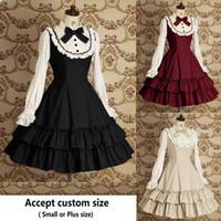Kostenloser versand Frauen Sommerkleid Maid Cosplay Lolita Kleid Retro Spitze Tägliche Mittelalterliche Gothic für mädchen