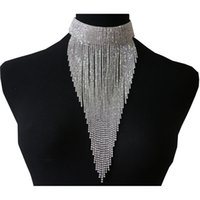 3-Farben-lange Troddel-Halskristallschmuck Glänzende Strass Kette Sexy-Kragen-Halskette für Frauen-Mode-Neuheit Schmuck