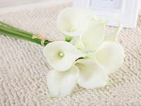 Kalite Gerçek Dokunmatik Pu Calla Zambak Dekoratif Yapay Çiçekler Düğün Buket Parti Ev Dekorasyon Için 20 adet / grup