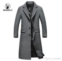 8423f5896e100 Minglu Moda para hombre Abrigo de lana para hombre Cuello de vuelta X-largo  Abrigo