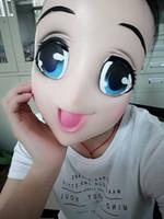 Weibliche süße Mädchen Half Head Kigurumi Maske mit BJD Augen Cartoon Cosplay japanischen Anime Rolle Lolita Maske