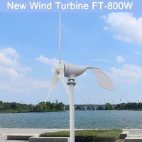 800 واط 12 فولت 24 فولت فولت 3 نايلون بليد أفقي الرئيسية توربينات الرياح مولد طاقة الرياح طاحونة الطاقة مع تحكم pwm