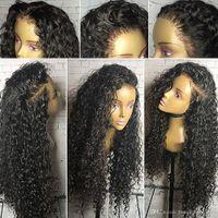 180% плотность вьющиеся парики Девы человеческие волосы 13x6 кружевной фронт парик предварительно сорваны натуральными волосяными