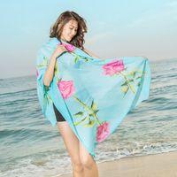 Nueva moda para mujer Georgette Wrap larga playa bufanda de seda bufandas Accesorios de moda Florial Print 200 * 100 CM