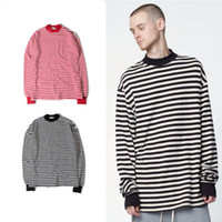Oversized Men T- Shirt Crew Neck Striped Casual Longlines Sle...
