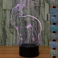 Astrattiva 3D Optical Illusion Unicorno colorato Effetto della luce di tocco Switch USB alimentato luce di notte decorazione LED Desk Lamp