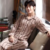Autunno Inverno uomo pigiama in cotone a righe pigiama manica lunga colletto turndown pigiameria casual uomo pigiama set più il formato L-3XL