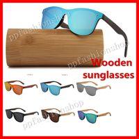 Occhiali da sole in legno polarizzati di lusso Occhiali in legno di bambù fatti a mano Occhiali da sole colorati moda uomo e donna 6 colori opzionali