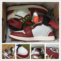 New with box 1 red black white men basketball shoes sports s...
