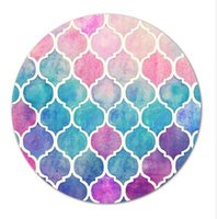 New Round Rubber Mousepad Rainbow Pastel Watercolor Moroccan...