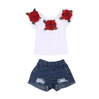 Fashion Toddler Kids Baby Girls Clothes Sets Flower Tops T- S...