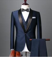 Alta calidad azul marino y negro esmoquin novios padrinos de boda Mejor hombre trajes de boda para hombres novio (chaqueta + pantalones + chaleco + Bowtie) trajes por encargo