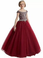 2020 New Burgundy Red Princess Girls Pageant Dresses Scoop N...