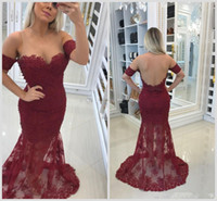Vestidos de fiesta de sirena de encaje de color borgoño árabe 2018 Sheer Jewel Cuello apliques Beaded Sexy Back Sweep Train Plus Size Vestidos de fiesta de noche largos