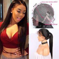 Peluca frontal de encaje de Malasia 360 pre arrancó con pelo de bebé Pelucas de pelo humano frente de encaje recto malasio para mujeres negras