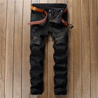 High Quality Spring Jeans Men Hole Zipper Patchwork Ripped B...