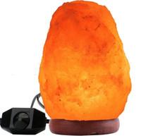 Glow Hand Ręcznie rzeźbione Naturalne Kryształ Himalajski Salt Lampa z prawdziwą bazą drewna, żarówki i włączanie i wyłącznik LLFA