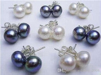Wholesale Cheap 16pcs/8Pairs 8-9MM White&Black Akoya Cultured Pearl 925 Silver Earring Studs Earrings