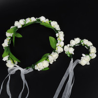 女の子の花クラウンブレスレット子供のブライダル造花クラウンリストバンドキッズガーランドブレスレット写真ヘアアクセサリーA00434