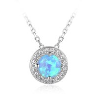 fashion rhodium plated charm blue opal sterling silver penda...