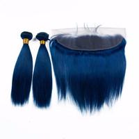 منتج جديد حريري مستقيم اللون الأزرق الشعر ينسج مع إغلاق الدانتيل 13x4 الأزرق الداكن عذراء الشعر 3 حزم مع الأذن إلى الأذن أمامي