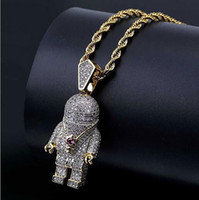 Горячие продажи Iced Out Astronaut Space Man Bling Подвеска Micro Pave Cubic Zirconia Necklace Hip Hop Pendant Necklace с подарочной коробкой