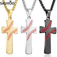 Sauvoo Из Нержавеющей Стали Крест Бейсбол Кулон Ожерелье Для Женщин Мужчины Религиозные Длинные Цепи Заявление Ожерелья Спортивные Ювелирные Изделия