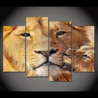 4パネルキャンバスアートキャンバス絵画ライオンヘッドHDプリントウォールアートポスターホームインテリアピクチャーリビングルーム