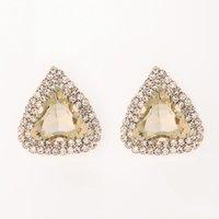 새로운 패션 여성 크리스마스 선물 귀걸이 쥬얼리 삼각형 샴페인 적열하는 보석 섹시한 스터드 귀걸이 선물 # E083