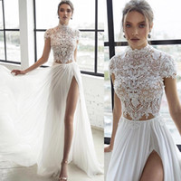2018 Lace Beach Wedding Dresses Beaded High Neck Bohemian Br...