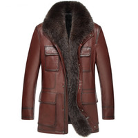 Men Genuine Leather Jacket Winter Shearling Coats Sheepskin ...