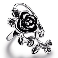 New Gothic Vintage Stainless Steel Big Rose Flower Band Ring...