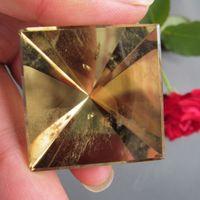 33 * 35 mm pirámide cretálica natural citrino amarillo puntos punteado único cristal pulido