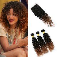 Ombre Deep Wave Hair Bundles with Lace Closure 3 Tone 1B 4 3...