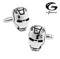 iGame Kol Düğmeleri Gümüş Renk Ironman Maskesi Tasarımı Süper Kahramanlar Kol Düğmesi