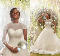 Abiti araba Plus Size Abiti da sposa con collo alto Manicotti perline Appliques Tulle Abito da sposa Abiti da sposa African Nigeria Abiti da sposa