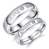 Free Name Engraving His Queen Her King Ring in Stainless Ste...