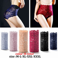 Plus Größe Sexy Frauen Nahtlose Spitze Unterwäsche Hohe Taille Damen Schlüpferschriftsätze Mädchen Transparente Einfarbig Dessous (M-XXXL)