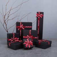 [DDisplay] joyería Negro Box Set con Bowknot de la cinta, la tendencia de los amantes del anillo de la caja, caja de joyería de Niza para el collar, pulsera de moda de visualización