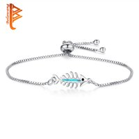 BELAWANG New Fashion Blue Opal Fish Bone Charm Bracelets For...