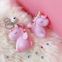 Soft rubber boy Unicorn Keychain Keyring Cellphone Charms Ha...