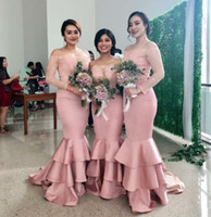 Blush Pink Satin Long Bridesmaid Dresses Bateau Long Illusion Sleeves Mermaid Party Gowns Back Zipper Tiered Ruffle Custom Made Prom Dress