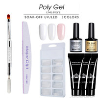 Nuevo 6 unids / set barniz barniz poli gel Conjunto kit de gel Poly Quick Builder Nail Extension Gel duro Camuflaje UV LED cepillo de laca Nail