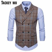 JACKEY WU Men Vest High Quality Casual Stripe Double Breaste...